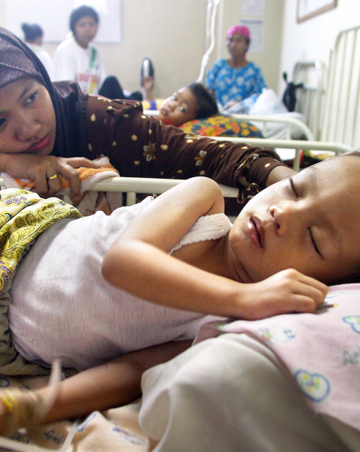 child in hospital with yellow fever, Indonesia